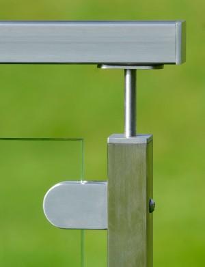 Fyrkantigt glasräcke - Mattpolerat rostfritt stål