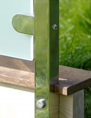 Fyrkantigt glasräcke - Sidmonterad stolpe
